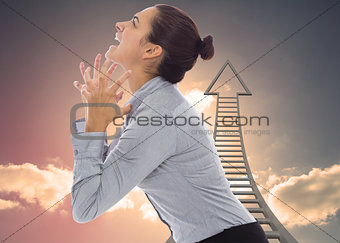 Composite image of frustrated businesswoman shouting