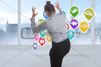 Composite image of businesswoman gesturing