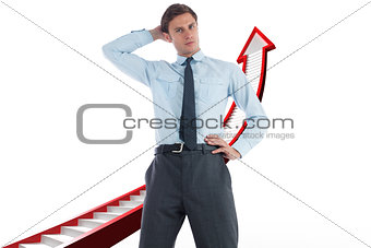 Composite image of thinking businessman with hand on head