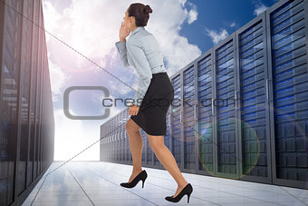 Composite image of businesswoman shouting