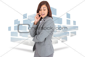Composite image of happy businesswoman