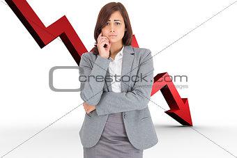 Composite image of upset thinking businesswoman