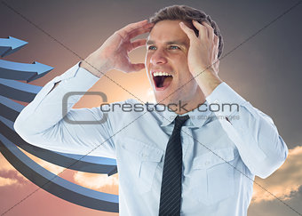 Composite image of stressed businessman shouting