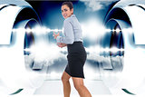 Composite image of furious businesswoman gesturing