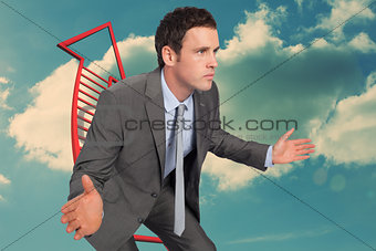 Composite image of businessman posing with hands out