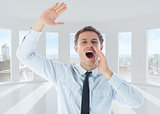 Composite image of businessman shouting and waving