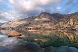 Bay of Kotor old town view from the other side. Montenegr