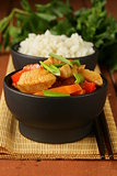 Stir-Fry chicken with vegetables in sweet and sour sauce