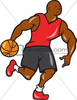 Basketball Player Dribbling Ball Cartoon
