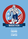 American Marathon Runner Retro Poster