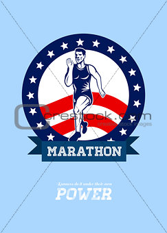 American Marathon Runner Power Poster
