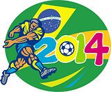 Brazil 2014 Soccer Football Player Retro