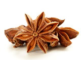 macro shot star anise on a white background