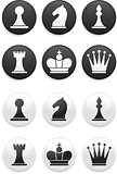 black and white Chess set on round buttons