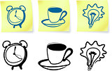 household items on post it notes and silhouettes