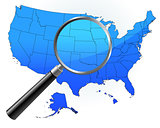 United States Map Under Magnifying Glass