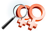 Lesbian Gender Symbols Under Magnifying Glass