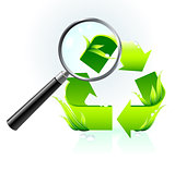 recycle symbol under magnifying glass