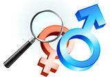 Couple Gender Symbols under Magnifying Glass