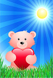 Teddy bear on sunny Summer background