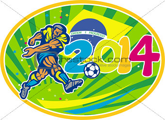 Brazil 2014 Soccer Football Player Kicking Ball