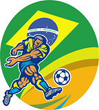 Brazil Soccer Football Player Kicking Ball Retro