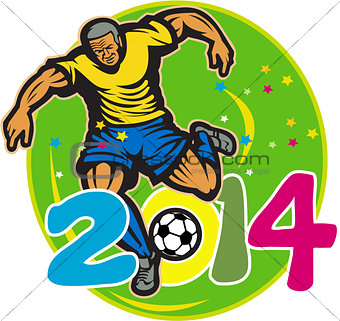 Brazil 2014 Football Player Kick Retro