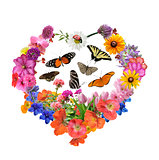 Butterflies And  Flowers In Heart Shape