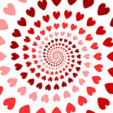 Design colorful spiral heart backdrop. Valentines Day background