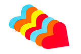 Many paper colored heart shapes on a white background