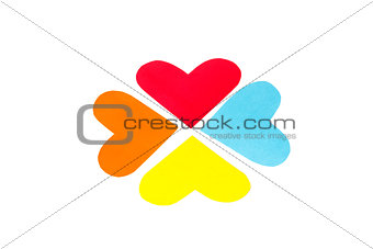 Four paper colored heart shapes