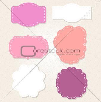 Cute Vintage labels set in pastel colors