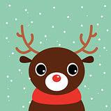Cute cartoon christmas Deer on snowing background