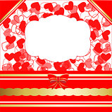 Valentines day greeting card with hearts and lacy ribbon