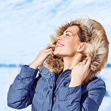 Woman enjoying winter nature