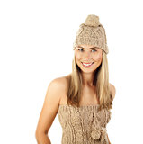 Pretty woman wearing winter hat