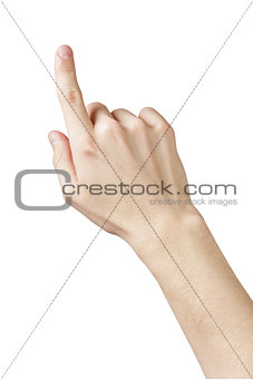 adult man hand pointing or clicking something