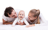 Closeup of young family with baby boy against white background