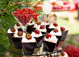 Cakes with fresh strawberries, and redcurrant in glass on a cake stand outdoors