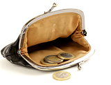 open purse with euro coins on white background
