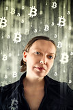 CoBusinesswoman collecting bitcoins