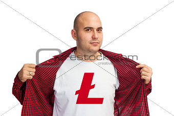 Litecoin symbol on shirt