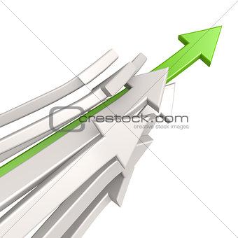 Green arrow toward success