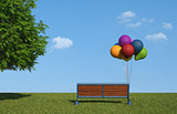 Bench with colorful balloons