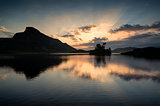 Stunning mountain and lake sunrise reflections beautiful landsca