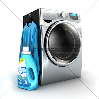3d washing machine and detergent bottle