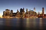 Twilight as the sun sets over Lower Manhattan. Famous New York l