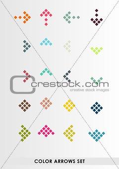 Flat color vector arrows set