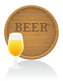 wooden beer barrel and glass vector illustration EPS10