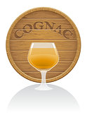 wooden cognac barrel and glass vector illustration EPS10